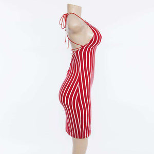 Stripes Backless Bandage Bodycon -mekko - Lupsona