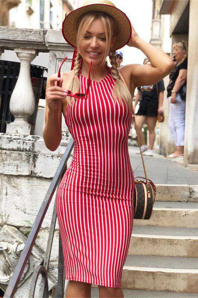 Stripes Backless Bandage Bodycon Kleed