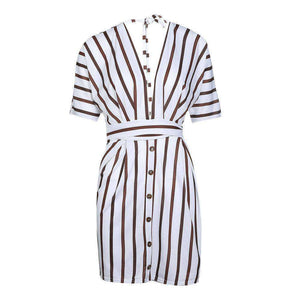 Deep V Neck Bandage Striped Kleed - Lupsona