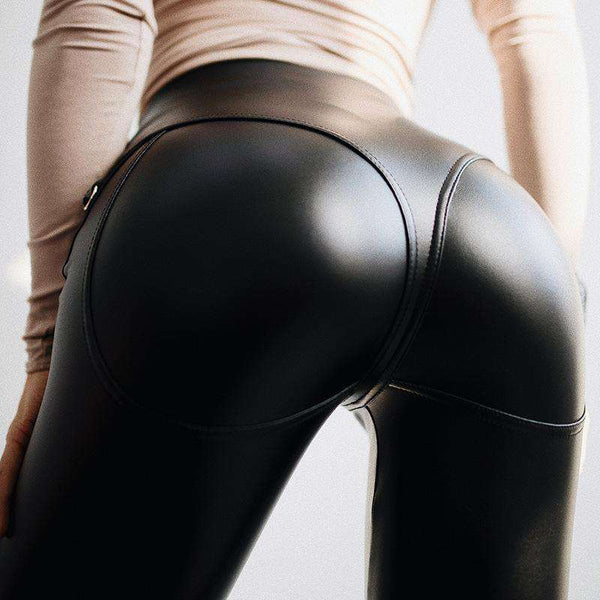 Sexy PU Leather Front Zipper Buttock Skinny Pants