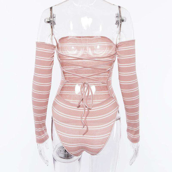 Back Bandage Stripes Langærmet Body Top - Lupsona