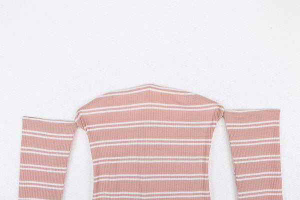 Back Bandage Stripes Long Sleeve Bodysuit Top - Lupsona