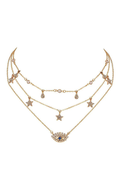 Chic Stars Eyes Drops Medál Multi-layer Necklace - Lupsona