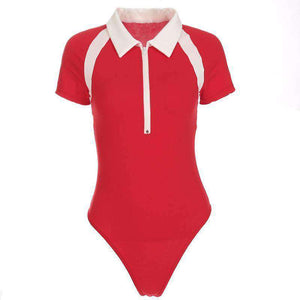 White Band Patch Polo Bodysuit-topp - Lupsona