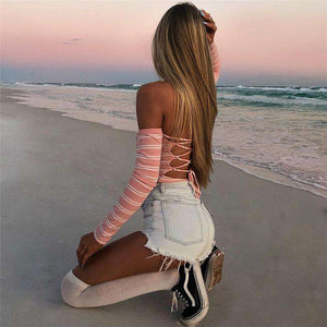 Kembali Bandage Stripes Long Sleeve Bodysuit Top - Lupsona