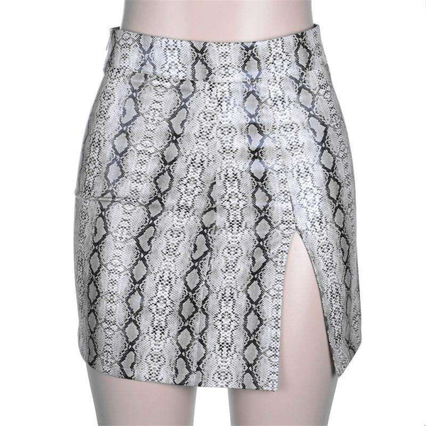 Sexy Snake Print Side Slit Hip Package Skirt