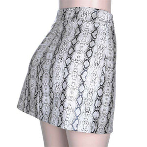 Sexy Snake Print Side Slit Hip Package Skirt - Lupsona