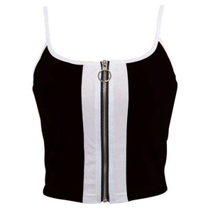 Culori Patch Fermoar Strappy Crop Top - Lupsona