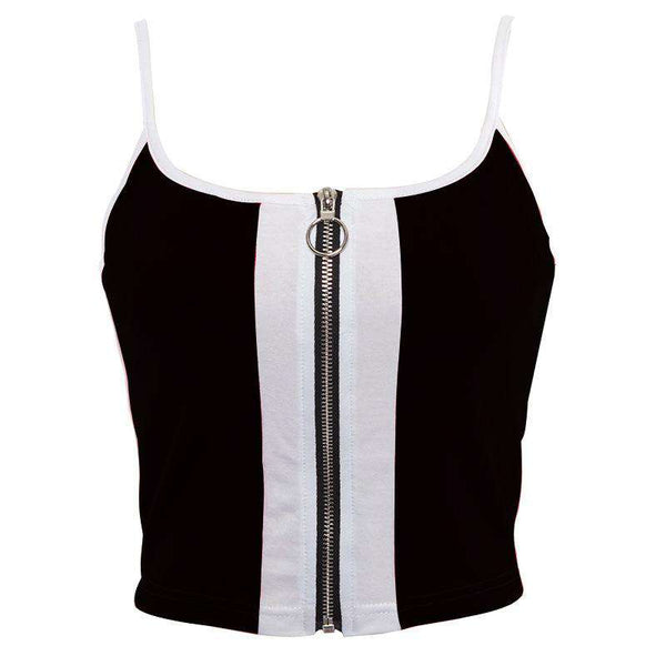 Faarf Patch Zipper Strappy Crop Top - Lupsona