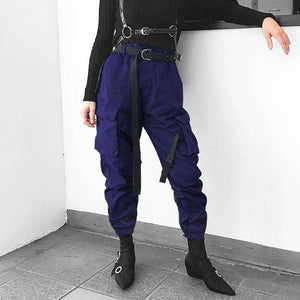 Ribbon Clasps Loose Cool Pants - Lupsona