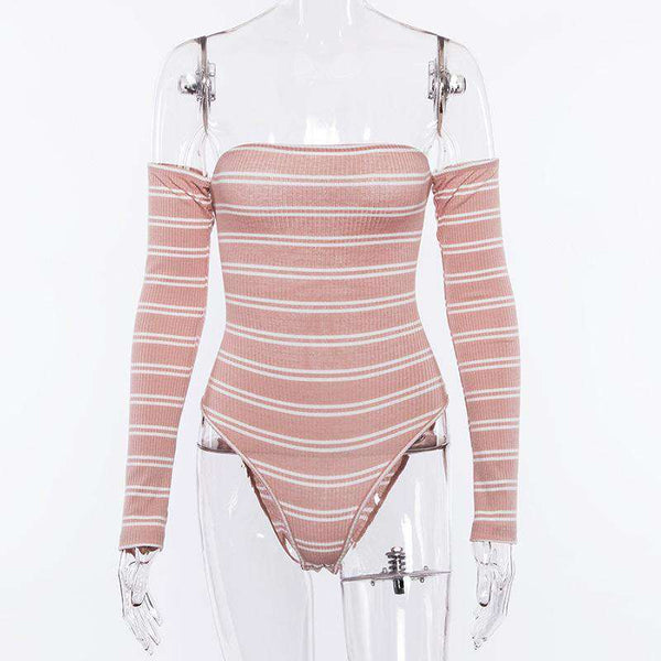 Back Bandage Stripes Long Sleeve Body Top - Lupsona