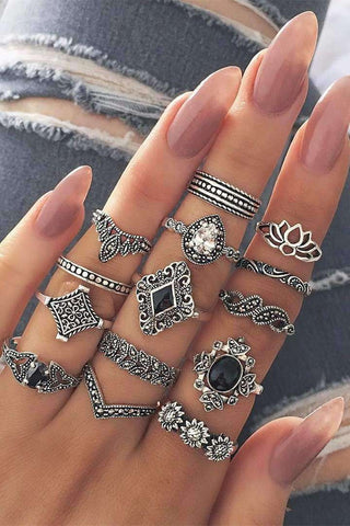 Boho Vintage Lotus 15-Stéck Ring Set