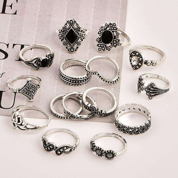 Boho Vintage Lotus 15-piece Ring Set - Lupsona