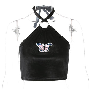 metal ring halter butterfly embroidery crop top - Lupsona