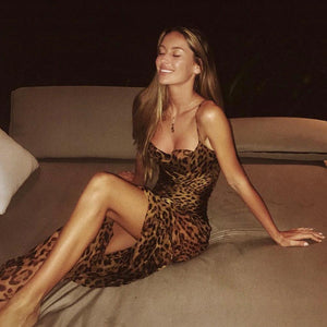 strappy Leopard Print backless schief schlank Maxi Kleed