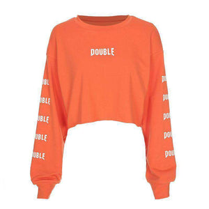 DOUBLE Print Loose Cropped Sweatshirt - Lupsona
