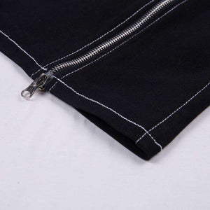 Double Zippers Metal Chain Joints Suspender Dress - Lupsona