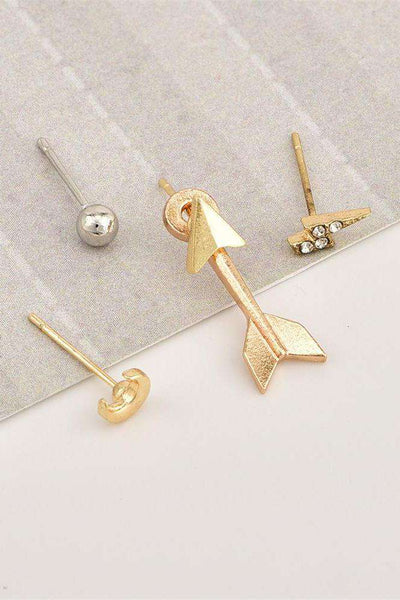 Elegant Moon Arrow Eardrop Earrings Set - Lupsona