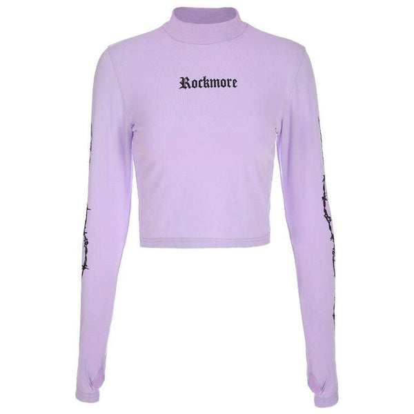 ROCKMORE Print Mock Neck Cropped Sweatshirt