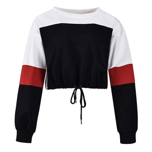 Color Patch Kordelzug Kurzes Sweatshirt - Lupsona