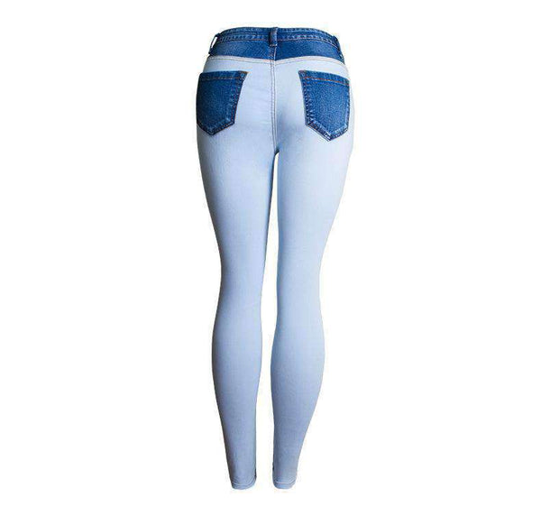 Cool Color Patch High Waist Skinny Jeans - Lupsona