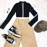 Front Zipper Long Sleeve Crop Top