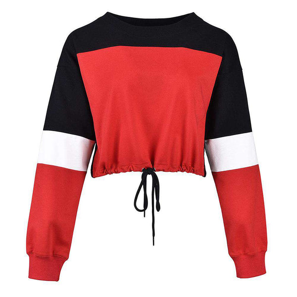 Color Patch Drawstring Cropped Sweatshirt - Lupsona