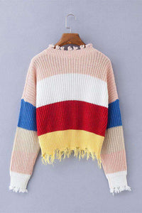 Deep V Neck Tassels Rainbow Stripes Crop Sweater - Lupsona