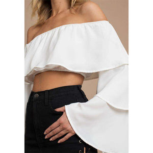 Off-the-shoulder Layered Flare Sleeve Crop Top - Lupsona