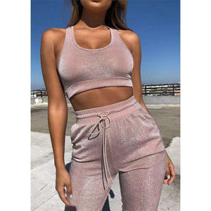 Glitter Sports Bra Top High Waist Pants Set - Lupsona