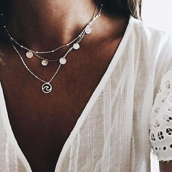 Bohemian Geometric Pendant Multi-layer Necklace - Lupsona