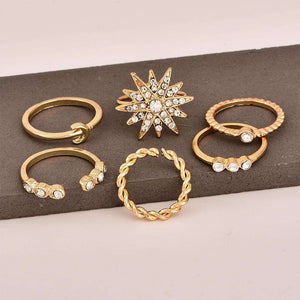 Chic Star Moon Rhinestone Ring Set - Lupsona