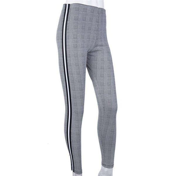 Sida Stripes Houndstooth Mönster Skinny Byxor