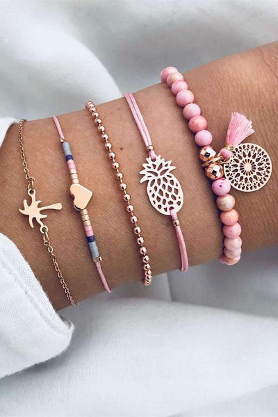 Cute Coco Heart Pineapple Woven Bracelets Set - Lupsona