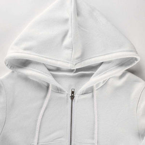 Hooded Pure White Casual Sportmantel - Lupsona
