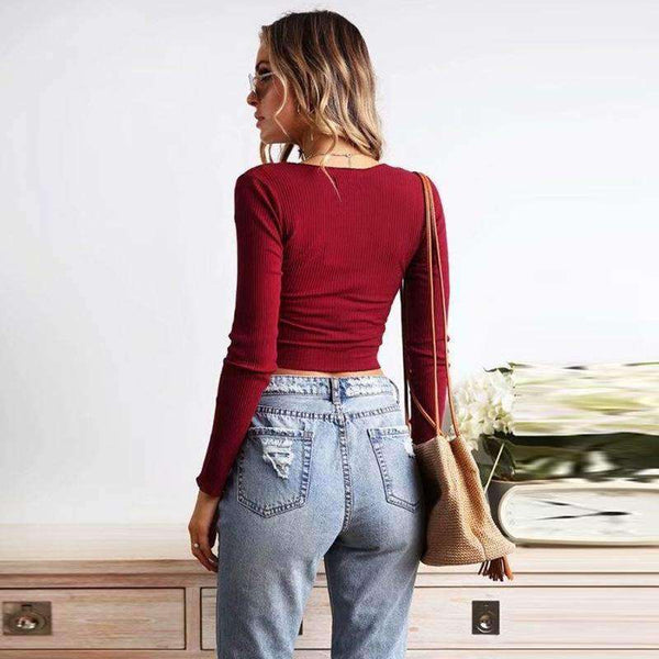 Front Pleated Long Sleeve Ribbed Crop Top - Lupsona