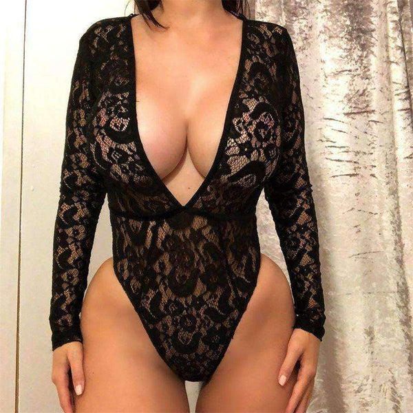 Deep V Neck Floral Lace Long Sleeve Bodysuit Top - Lupsona