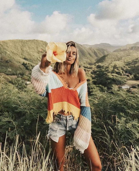 Rainbow Deep V Neck Tassels Loose Crop Peysa