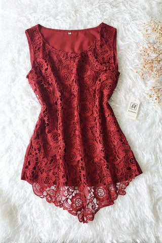 7 Colors Floral Lace Sleeveless Blouse