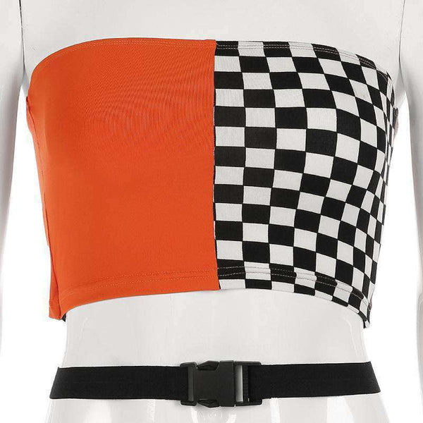 Checkerboard Patch Cross Buckle Crop Top - Lupsona