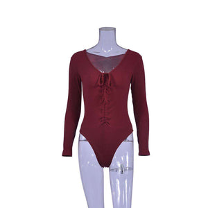 Sexy Deep V Neck Long Sleeve Bodysuit
