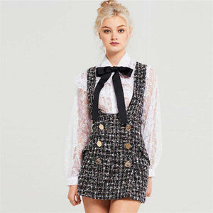 tweed two-line buttons decoration suspender dress