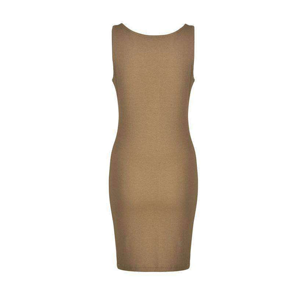 Front Buttons Sleeveless Bodycon Kleed - Lupsona