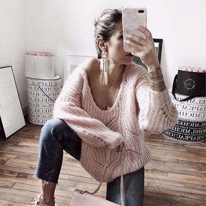 solid color hollow out backless oversized sweater - Lupsona