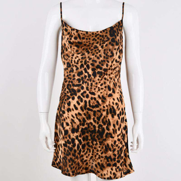 sexy leopard strappy mini dress