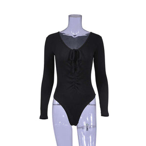 Sexy Deep V Neck Long Sleeve Bodysuit - Lupsona