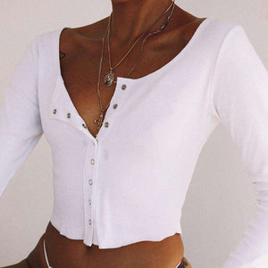 Front Buttons Long Sleeve Crop Top - Lupsona