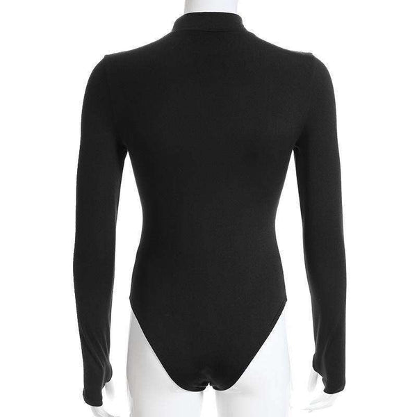 Eyelet Hollow Out Turtleneck Fleece Bodysuit Top - Lupsona