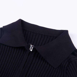 two-way zipper turn-down neck knitted top