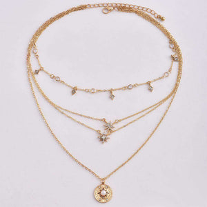 stars pendant multi-layer necklace - Lupsona